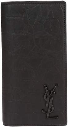 Saint Laurent Embossed Logo Long Bifold Wallet