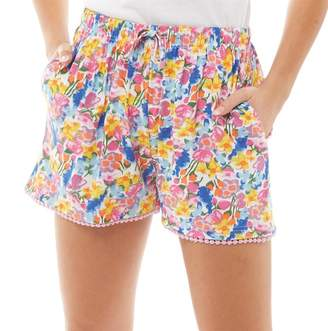 d7b8f0df4b Board Angels Womens Floral Print Jersey Shorts Multi