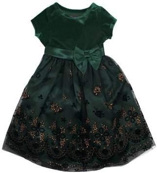 Nannette Short Sleeve Velvet and Glitter Mesh Overlay Special Occasion Dress (Toddler Girls)