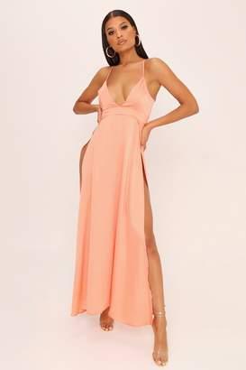 a4db5ececb42 I SAW IT FIRST Peach Plunge Split Front Satin Maxi Dress
