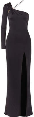 Cushnie et Ochs Leonora One-shoulder Embellished Satin-jersey Gown - Dark gray