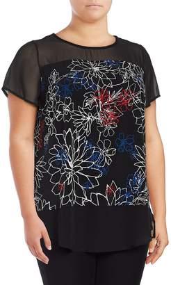 Vince Camuto Women's Floral Illusion Top - Rich Black, Size 1x (14-16)