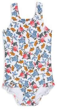 Shoshanna Girl's Sierra One-Piece Ruffled Floral Swimsuit