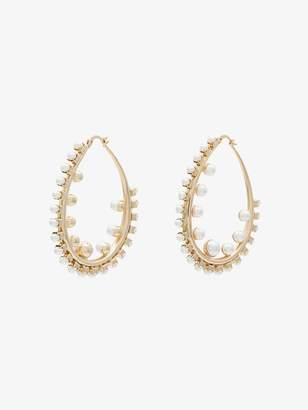 Anton Heunis gold plated pearl hoop earrings