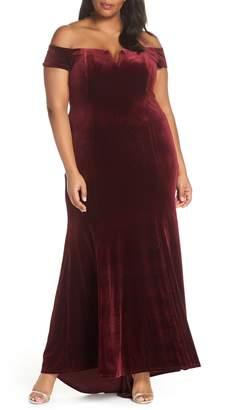 Vince Camuto Notch Neck Velvet Off the Shoulder Gown