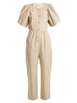 Masscob Puff Sleeve High Rise Button Down Cotton Jumpsuit - Womens - Beige