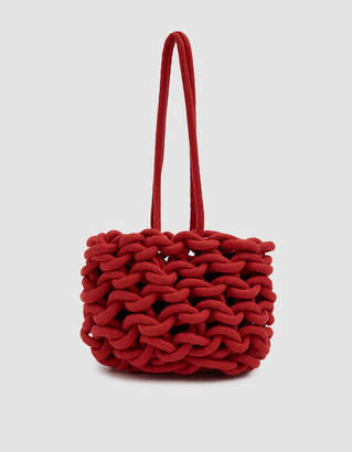 Alienina Small Woven Circle Clutch in Red