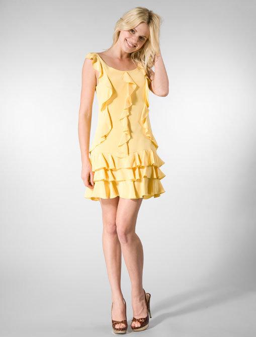 Sea Crepe Ruffle Dress