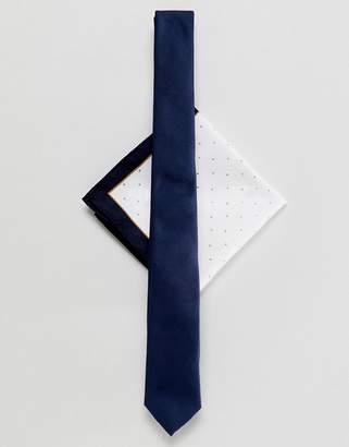 Asos DESIGN navy tie & pocket square in polka dot