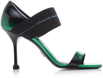 Prada Glossy Mid Heel Sandal