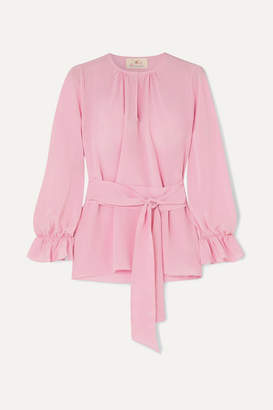 ARoss Girl x Soler Amanda Belted Silk Crepe De Chine Top - Blush
