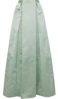 Zac Posen Pleated Satin Maxi Skirt