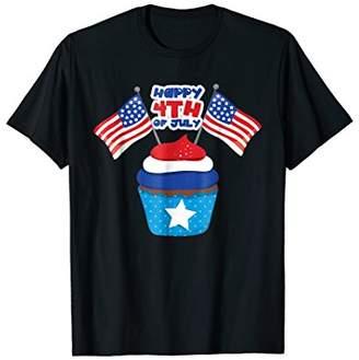 Patriotic Cupcake T-Shirt Stars Stripes Fourth of July