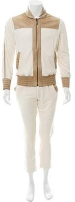 Angelo Galasso Leather-Trimmed Two-Piece Set