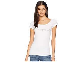 Bebe Lissa Lace Shoulder Logo Short Sleeve Tee Women's T Shirt