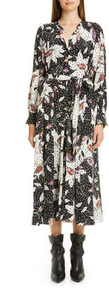 Isabel Marant Floral Print Stretch Silk Long Sleeve Midi Dress
