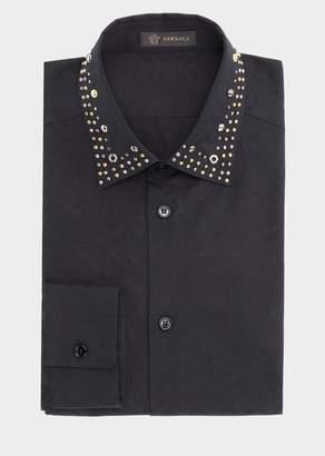 Versace Stud Greca Argyle Print Shirt