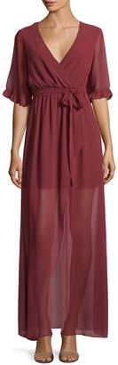 BCBGeneration Ruffle Sleeve Wrap Dress