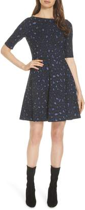 Kate Spade leopard print lace-up ponte dress