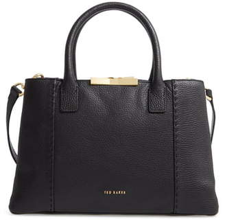 Ted Baker Small Colesa Faceted Bar Soft Grain Leather Tote