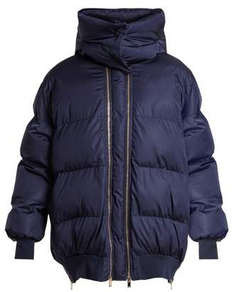 Stella McCartney Detachable Hood Quilted Jacket - Womens - Dark Blue