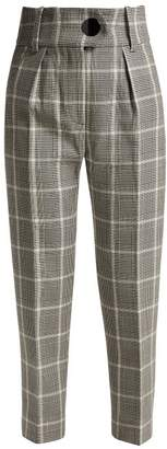 Petar Petrov Hayden Checked Wool Trousers - Womens - Black White