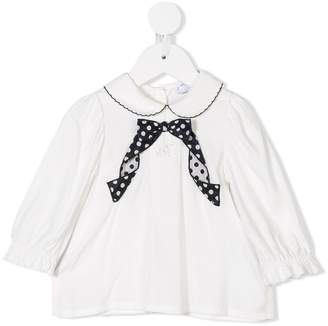 MonnaLisa polka-dot bow blouse