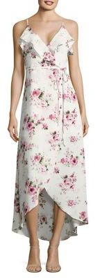 Design Lab Lord & Taylor Floral Wrap Midi Dress $88 thestylecure.com