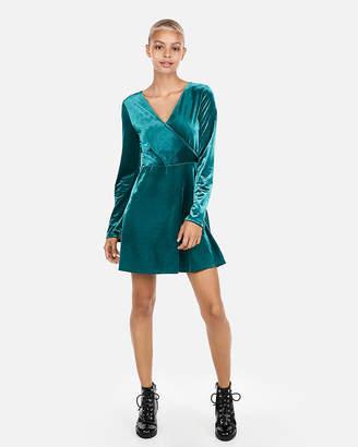 Express Petite Velvet Surplice Fit And Flare Dress