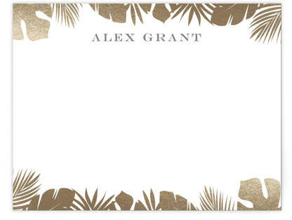 Gilded Palm Foil-Pressed Personalized Stationery