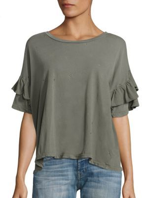 Current/Elliott The Roadie Cotton Ruffle Sleeve Tee $128 thestylecure.com