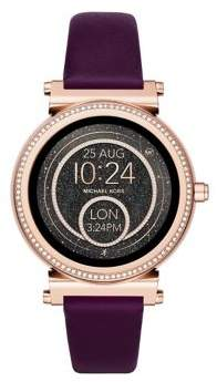 Michael Kors Sofie Plum Leather Strap Watch