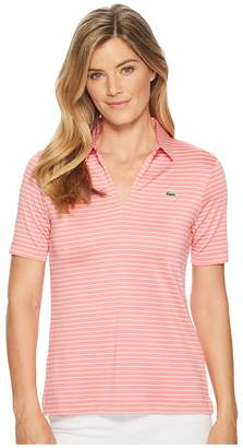 Lacoste Jersey Rayon Striped Golf Performance Polo Women's Clothing