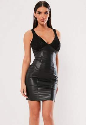 Missguided Black Faux Leather Lace Cup Mini Dress