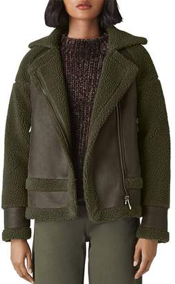 Whistles Faux-Shearling Biker Jacket