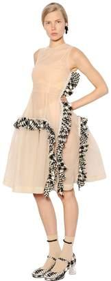 Simone Rocha Embellished Tulle Dress W/ Tweed Ruffles