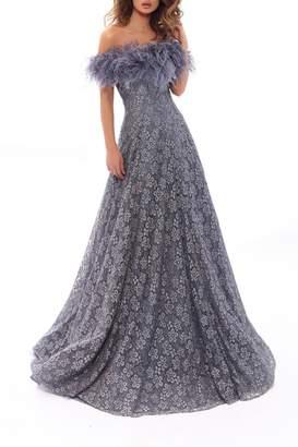 Tarik Ediz Lace Moons Gown