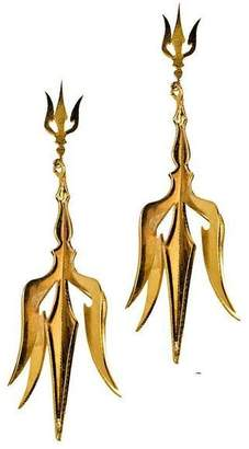 "Eina Ahluwalia Sterling Silver Trishul Earrings ""3D"""