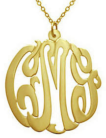 "QVC 7/8"" Personalized Script Pendant w/ Chain, Sterling/Plated"
