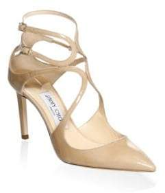 Jimmy Choo Lancer Ankle-Strap Patent Leather Pumps