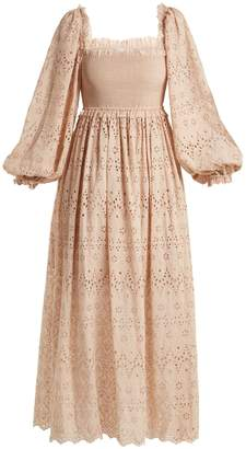 Zimmermann Bayou Blouson broderie-anglaise cotton-blend dress