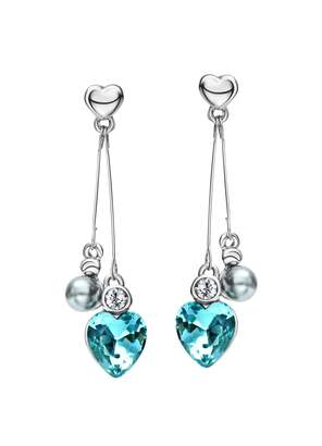 Crystal Pearl Ananth Jewels Swarovski Elements Crystal & Pearl Dangle Exquisite Love Heart Style Earrings for Women