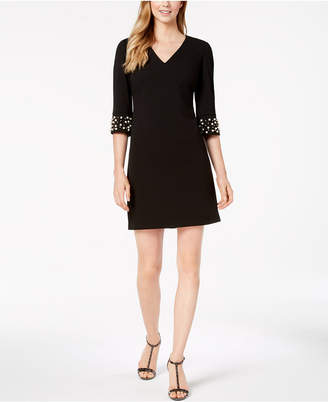 Calvin Klein V-Neck Embellished-Sleeve Dress, Regular & Petite
