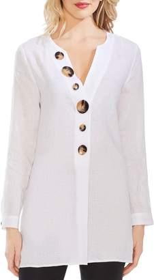 Vince Camuto Button Detail Linen Tunic