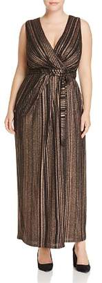 City Chic Plus Metallic Stripe Wrap Maxi Dress - 100% Exclusive
