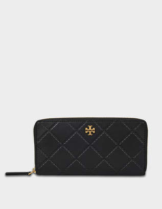 Tory Burch Georgia Zip Around Continental Wallet in Black Leather