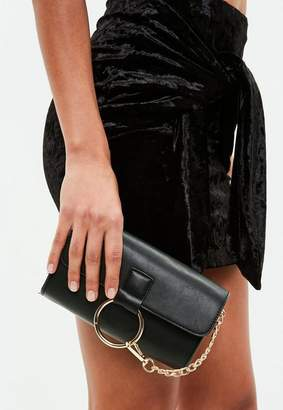 Missguided Black Ring Detail Clutch Bag