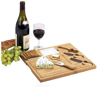 Picnic at Ascot Celtic Bamboo Cheese Board with Ceramic Dish and 3 Cheese Tools