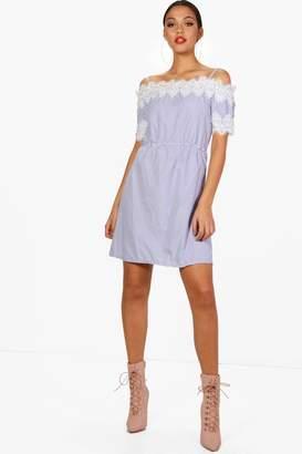 boohoo Stripe Bardot Lace Trim Dress