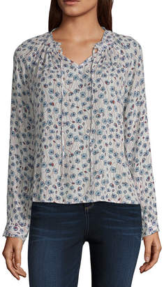 A.N.A Long Sleeve V Tie Neck Woven Blouse